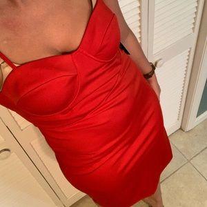 Charmed & Dangerous Red Bustier Bodycon Midi Dress